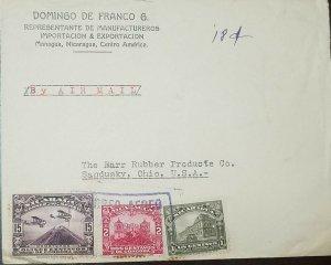 O) 1929 CIRCA - NICARAGUA, AIRPLANES OVER MT MOMOTOMBO, LEON CATHEDRAL - ARCHITE
