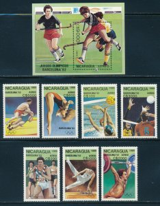 Nicaragua - Barcelona Olympic Games MNH Sports Set Field Hockey (1992)