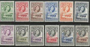 Bechuanaland # 154-65  QE II Definitives 1955-58 (12) Unused VLH