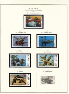 STATE OF NEVADA HUNTING PERMIT STAMPS 1979-2004 MOUNTED ON 4 PAGES  BT6314