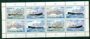 ICELAND #806b Pane of 8 SHIPS, og, NH, VF, Scott $10.00