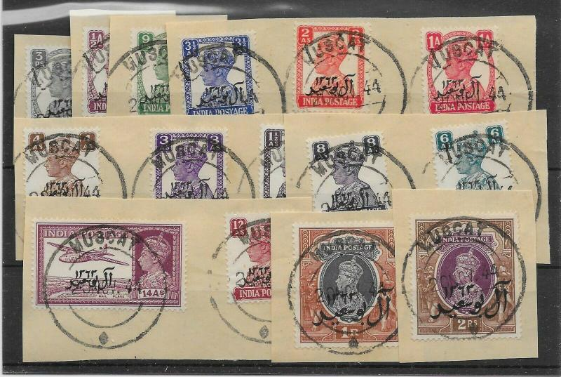 MUSCAT SG1/15 1944 DEFINITIVE SET USED ON PIECE