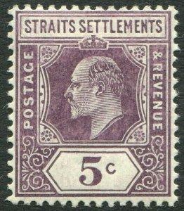 STRAITS SETTLEMENTS-1906 5c Dull Purple chalk-surfaced paper Sg 130b MM V50187