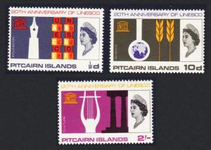 Pitcairn 20th Anniversary of UNESCO 3v SG#61-63 SC#64-66