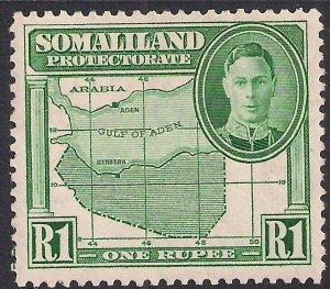 Somaliland 1942 KGV1 1 Rupee Green MM SG 113 ( K503 )