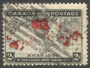 CANADA 1898 Used 2c Xmas Map issue, Sc 85 Used F-VF Montreal cancel