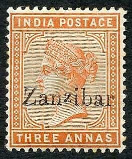 Zanzibar SG10 3a brown-orange Small second Z M/M (tone spots)