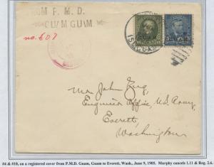GUAM #5 & 10 ON REGISTERED COVER JULY 9,1905 CV $1,100 BS8437 HS108G
