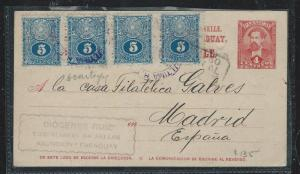 PARAGUAY (P2309B) 4C PSC UPRATED 5C X4 TO MADRID SPAIN