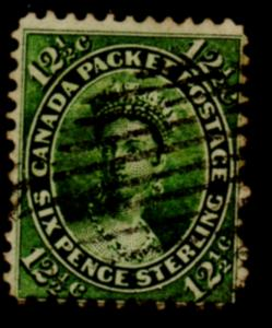 Canada Sc 18 1859 12 1/2 c yellow green Victoria stamp used