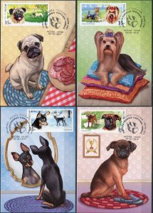 Russia. 2019. Dog Breeds (2019). Cancellation Moscow (Mint) Set of 4 Maxi Cards