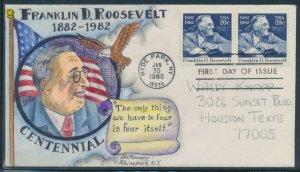#1950 FRANKLIN D. ROOSEVELT 1/30/1982 FDC HANDPAINTED BY DOROTHY KNAPP BV1913