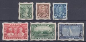 Canada Sc 211-216 MLH. 1935 Silver Jubilee, complete set, F-VF