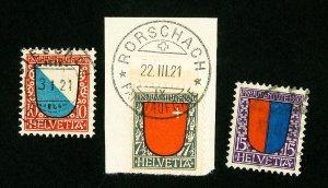 Switzerland Stamps # B15-17 VF Used Scott Value $60.50