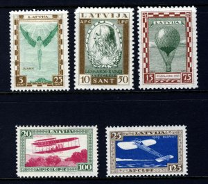 LATVIA 1932 Air Charity Set Pioneers of Aviation Perfed SG 226A to SG 230A MINT