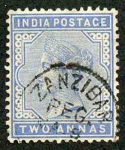 Zanzibar SGZ85 1882-90 India 2a Blue with CDS (type Z6) Used