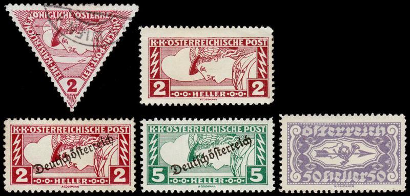 Austria Scott QE1, QE3, QE5-QE6, QE8 (1916-22) MintUsed H F-VF