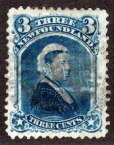 35, NSSC, Newfoundland, 3¢ Queen Victoria, blue, p.12, Used, F/VF, Scott 34
