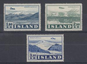 Iceland Sc C27-C29 MLH. 1952 Glaciers Air Post, complete VF