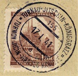 BÖHMEN u. MAHREN 1941 TURNAU-JITSCHIN-KÖNIGGRÄTZ TPO n°155a bilingual CDS /Mi.41