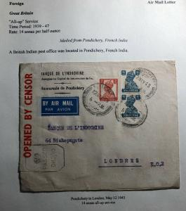 1943 British Post Office Pondichery French India Cover To London Inochine Bank