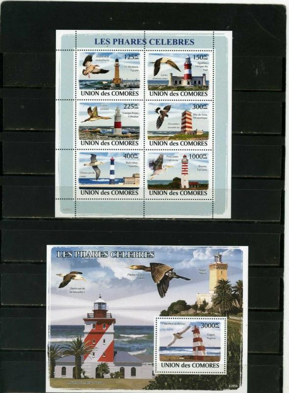 COMOROS 2008 SEA BIRDS AND LIGHTHOUSES SHEET OF 6 STAMPS & S/S MNH
