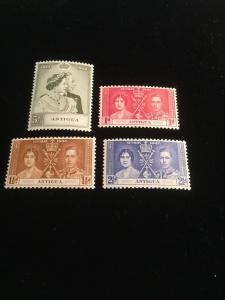 Antigua Scott #81-83 & #99 Wedding And Coronation Stamps.
