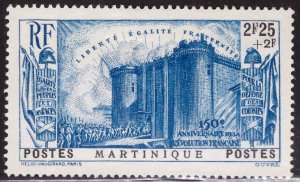 Martinique Scott  B7 MH* 1938 Revolution semi postal stamp