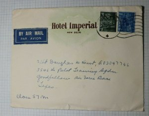 India Airmail Cover Hotel Imperial New Delhi to US Air Force Pilot Goodfellow