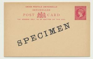 SEYCHELLES QV 4c SPECIMEN POST CARD H&G#1 (SEE BELOW