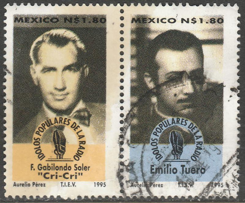MEXICO 1950e-f, Popular Radio Personalities, PAIR. USED. F-VF. (1494)