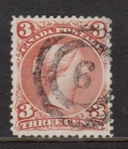 Canada #25 VF Used With 2 Ring 9 Cancel