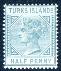 TURKS ISLANDS-1882-85 ½d Blue-Green Watermark Crown CA Sg 53  MOUNTED MINT