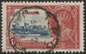 JAMAICA 1935 1d KGV  Sc 109 Used VF, Silver Jubilee, T.P.O. cancel