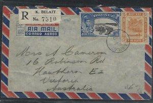 BRUNEI  (P3008B)  1950  SILVER JUB 50C+ 5C REG FROM K. BELAIT A/M TO AUSTRALIA