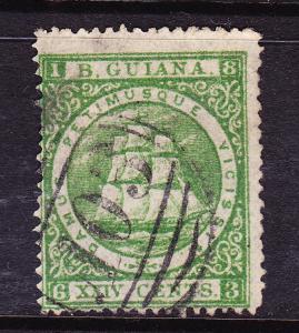 BRITISH GUIANA  1875-76  24c SHIP  FU  P15  SG 115