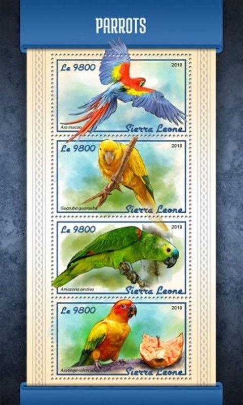 Sierra Leone - 2018 Parrots on Stamps - 4 Stamp Sheet - SRL18102a