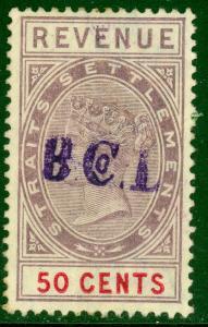 STRAITS SETTLEMENTS 1887 50c Lilac & Red QV Revenue B Co L Handstamp Bft 39 VFU