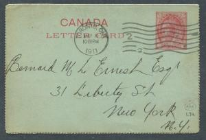 CANADA POSTAL STATIONERY #L7a USED LETTER CARD