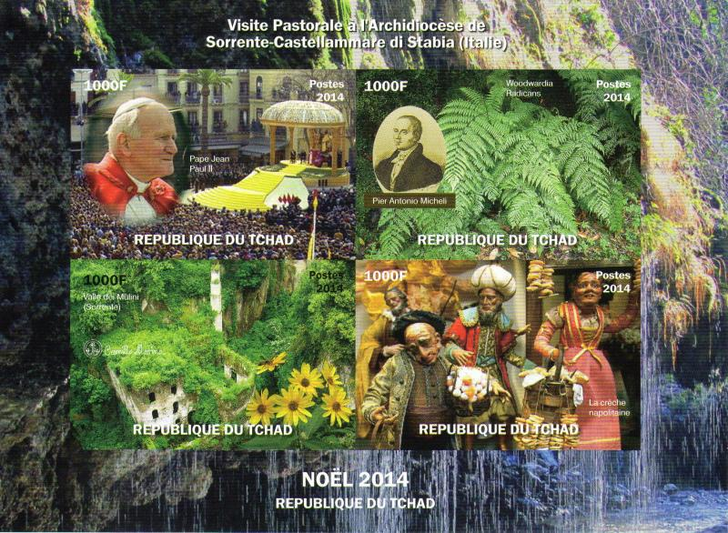 Chad 2014 Pope John Paul II-Pier Micheli-Nativity/Paper Factory DELUXE S/S MNH