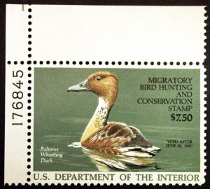 RW53 $7.50 Fulvous Whistling Duck Hunting 1986 VF-XF MNH OG Plate # PO  Fresh
