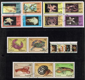 Fujeira Stamp 1972 Marine Life  + stamps collection lot