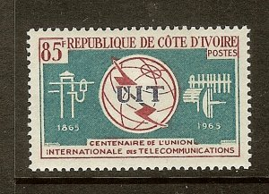 Ivory Coast, Scott #228, 85fr ITU Issue, MH