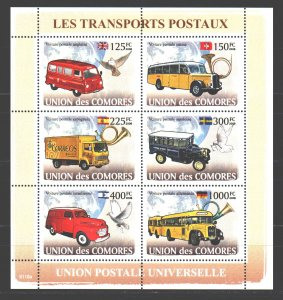 Comoro Islands. 2008. ml 1813-18. Mail Transport, pigeons. MNH.