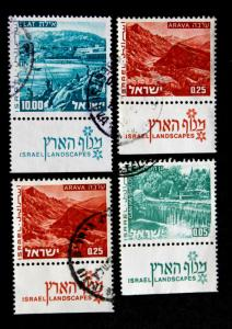 Stamp Israel Sc# 462, 465A & 592 with Tabs Used Lot of 4