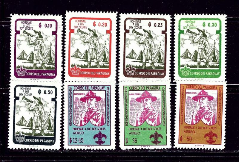 Paraguay 638-45 MNH 1962 Boy Scouts