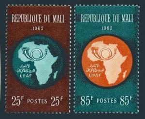 Mali 36-37,MNH.Michel 51-52. African Postal Union,1962.Map,Post horn.