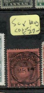 BRITISH EAST AFRICA (P1005B)  ARMS  3 A SG 8  MOMBASA  SON CDS    VFU