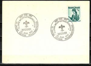 Austria, 1958 issue. 16/MAY/58. Scout cancel with Scout Label on Card.