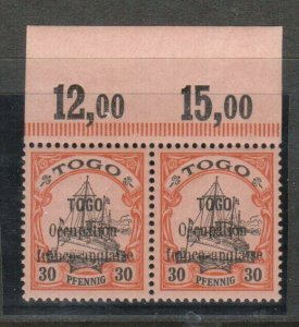 Togo #160 Extra fine Never Hinged Imprint Pair